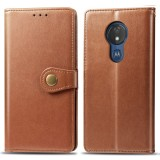 Retro Solid Color Leather Buckle Mobile Phone Protection Leather Case with Lanyard & Photo Frame & Card Slot & Wallet & Bracket Function for MOTO G7 Power (Brown)