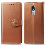 Retro Solid Color Leather Buckle Mobile Phone Protection Leather Case with Lanyard & Photo Frame & Card Slot & Wallet & Bracket Function for LG Stylo 5 (Brown)