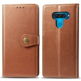 Retro Solid Color Leather Buckle Mobile Phone Protection Leather Case with Lanyard & Photo Frame & Card Slot & Wallet & Bracket Function for LG Q60 (Brown)