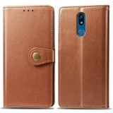 Retro Solid Color Leather Buckle Mobile Phone Protection Leather Case with Lanyard & Photo Frame & Card Slot & Wallet & Bracket Function for LG K40 (Brown)