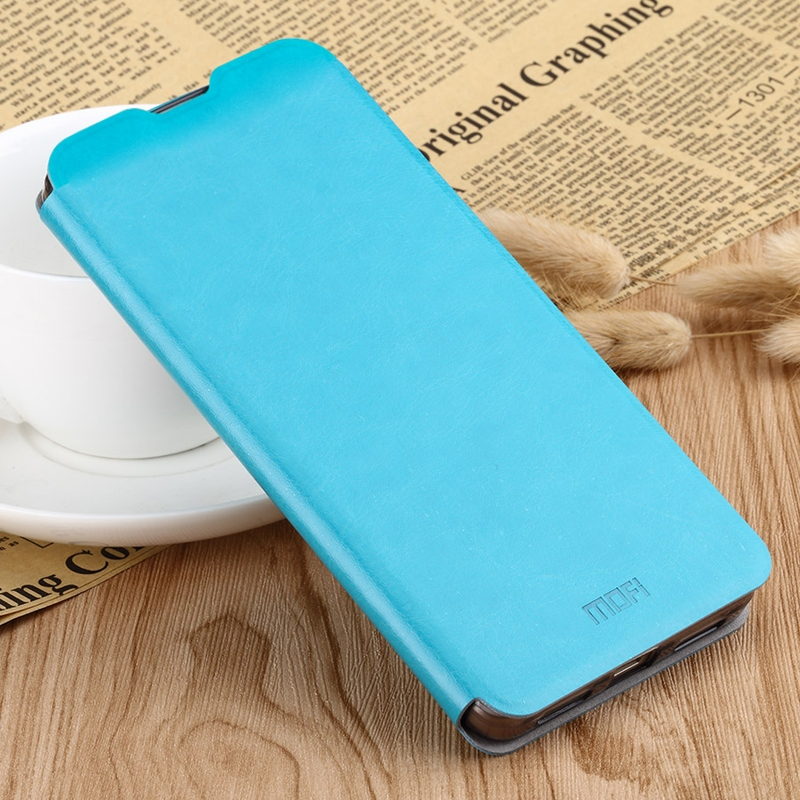 MOFI Rui Series Classical Leather Flip Leather Case With Bracket Embedded Steel Plate All-inclusive for Xiaomi RedMi 7 (Blue)