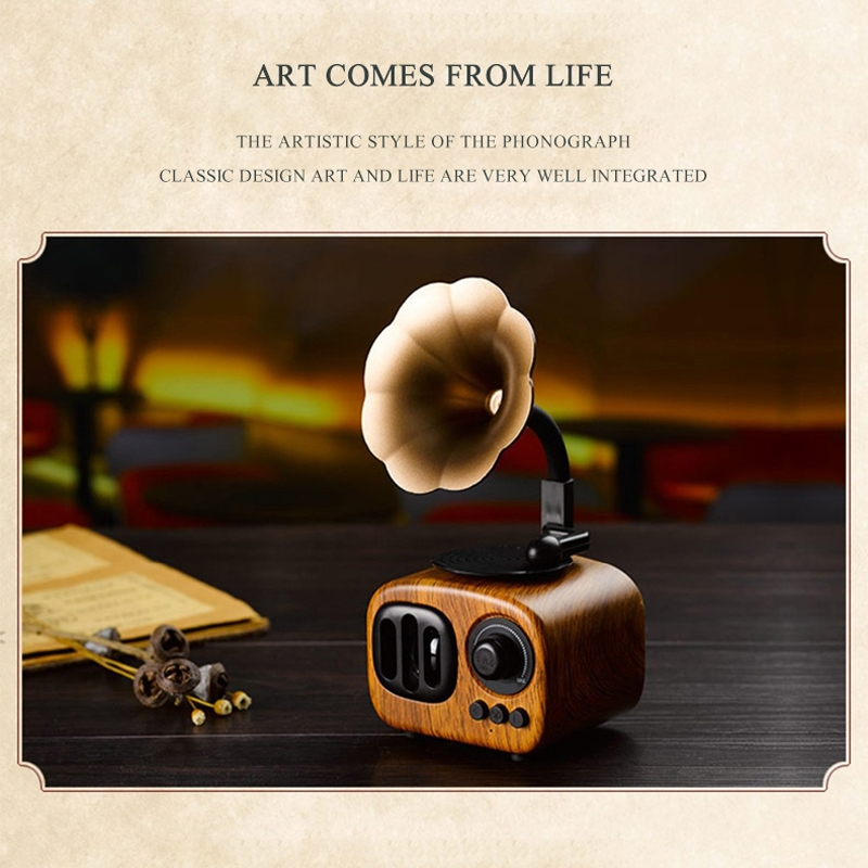 Retro Wood Portable Mini Bluetooth Speaker Wireless Loudspeaker Outdoor Speaker Sound System TF FM Radio Music Subwoofer (Brown)