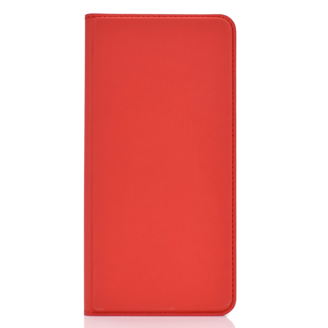 Electric Pressed Plain Texture Ultra-thin Magnetic Suction TPU + PU Leather Case with Holder & Card Slot for Galaxy A10 (Red)