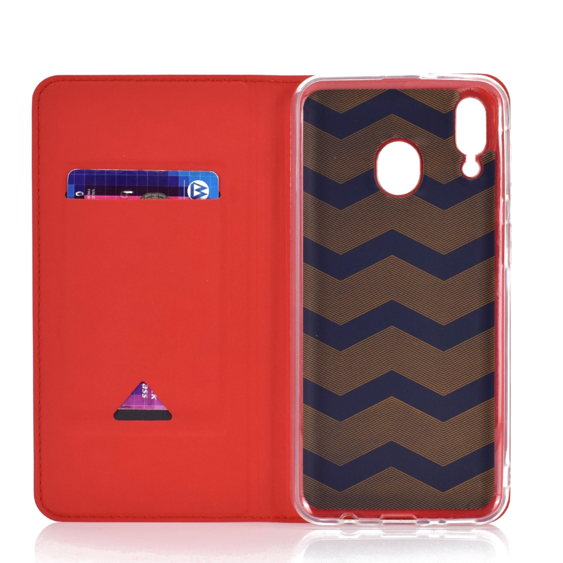 Electric Pressed Plain Texture Ultra-thin Magnetic Suction TPU + PU Leather Case with Holder & Card Slot for Galaxy M20 (Gold)