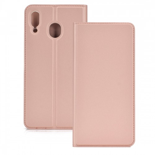 Electric Pressed Plain Texture Ultra-thin Magnetic Suction TPU + PU Leather Case with Holder & Card Slot for Galaxy M20 (Rose gold)