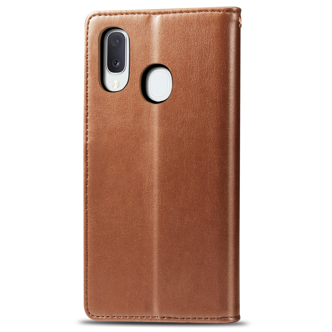 Retro Solid Color Leather Buckle Mobile Phone Protection Leather Case with Lanyard & Photo Frame & Card Slot & Wallet & Bracket Function for Galaxy A20e (Brown)
