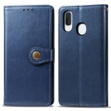 Retro Solid Color Leather Buckle Mobile Phone Protection Leather Case with Lanyard & Photo Frame & Card Slot & Wallet & Bracket Function for Galaxy A20e (Blue)