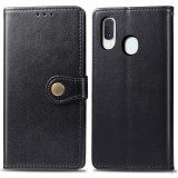 Retro Solid Color Leather Buckle Mobile Phone Protection Leather Case with Lanyard & Photo Frame & Card Slot & Wallet & Bracket Function for Galaxy A20e (Black)