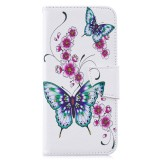 Colored Drawing Peach Blossom and Butterfly Pattern Horizontal Flip Leather Case for Xiaomi Redmi Note 7 / Redmi Note 7 Pro, with Holder & Card Slots & Wallet