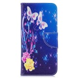 Colored Drawing Yellow Butterfly Pattern Horizontal Flip Leather Case for Xiaomi Redmi Note 7 / Redmi Note 7 Pro, with Holder & Card Slots & Wallet