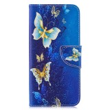 Colored Drawing Golden Butterfly Pattern Horizontal Flip Leather Case for Xiaomi Redmi Note 7 / Redmi Note 7 Pro, with Holder & Card Slots & Wallet