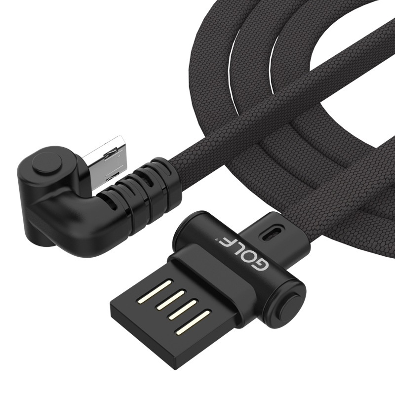 GOLF GC-68M 1m 180 Degree Elbow Micro USB to USB 3A Charging USB Data Cable Fast Charging USB Data Cable for Galaxy, LG, Huawei, Xiaomi and other Smartphones (Red)