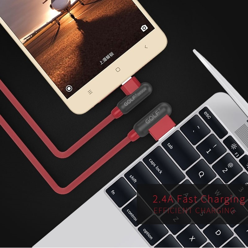 GOLF GC-45m 1m 90 Degree Elbow Micro USB to USB 2.4A Charging USB Data Cable Fast Charging USB Data Cable for Galaxy, LG, Huawei, Xiaomi and other Smartphones (Black)