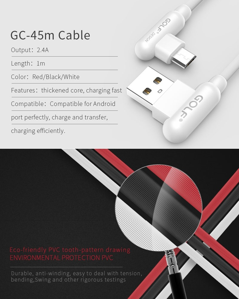 GOLF GC-45m 1m 90 Degree Elbow Micro USB to USB 2.4A Charging USB Data Cable Fast Charging USB Data Cable for Galaxy, LG, Huawei, Xiaomi and other Smartphones (White)