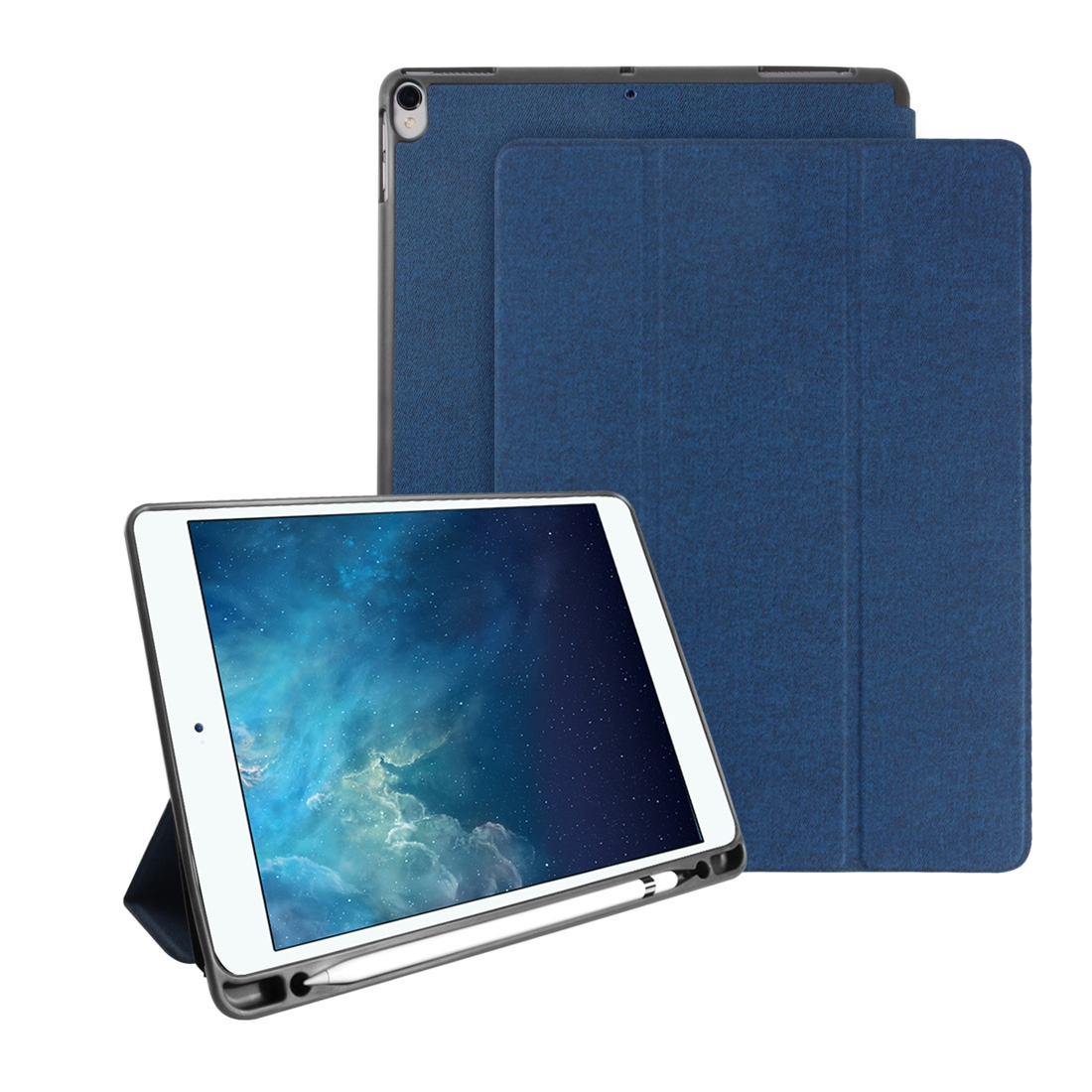 Mutural Exquisite Series Cloth Texture PU+TPU Leather Case for iPad Pro 10.5 inch, with 3-Fold Holder & Pen Slot & Sleep & Wake-up Function (Blue)