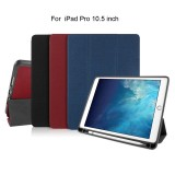 Mutural Exquisite Series Cloth Texture PU+TPU Leather Case for iPad Pro 10.5 inch, with 3-Fold Holder & Pen Slot & Sleep & Wake-up Function (Red)