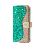 Laser Glitter Powder Matching Crocodile Texture Horizontal Flip Leather Case for Galaxy A50, with Card Slots & Holder (Green)