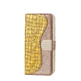 Laser Glitter Powder Matching Crocodile Texture Horizontal Flip Leather Case for Galaxy A50, with Card Slots & Holder (Gold)