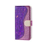 Laser Glitter Powder Matching Crocodile Texture Horizontal Flip Leather Case for Galaxy A50, with Card Slots & Holder (Purple)