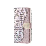 Laser Glitter Powder Matching Crocodile Texture Horizontal Flip Leather Case for Galaxy A70, with Card Slots & Holder (Silver)
