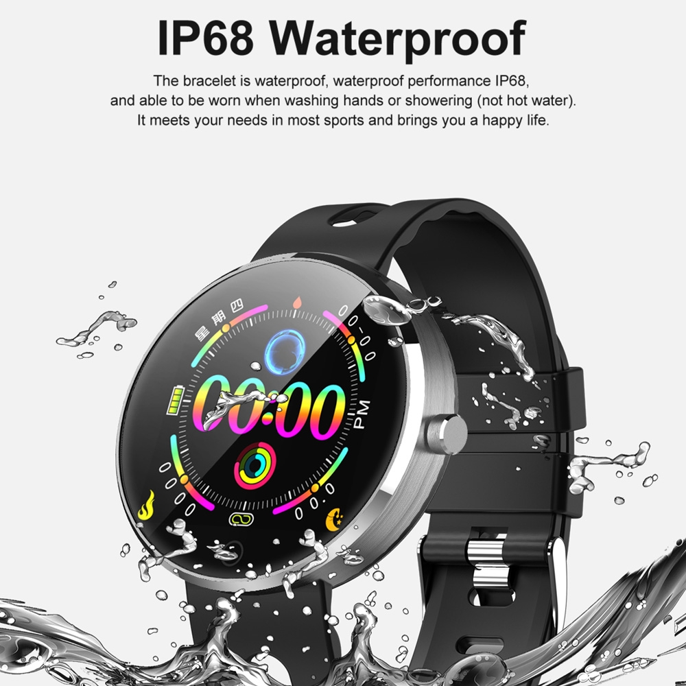 DOMINO DM78 Plus 1.22 inch IPS Screen Bluetooth Smart Watch, IP68 Waterproof, Support Pedometer / Heart Rate Monitor / Blood Pressure Monitor / Sleep Monitor, Compatible with Android and iOS Phones (Black)