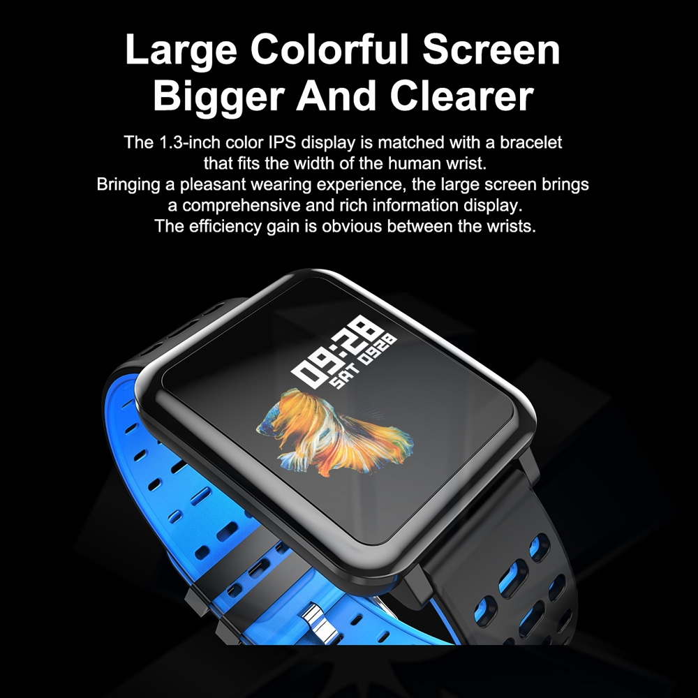 T2 1.3 inches TFT IPS Color Screen Smart Bracelet IP67 Waterproof, Support Call Reminder / Heart Rate Monitoring /Sleep Monitoring /Sedentary Reminder /Blood Pressure Monitoring /Blood Oxygen Monitoring (Black)