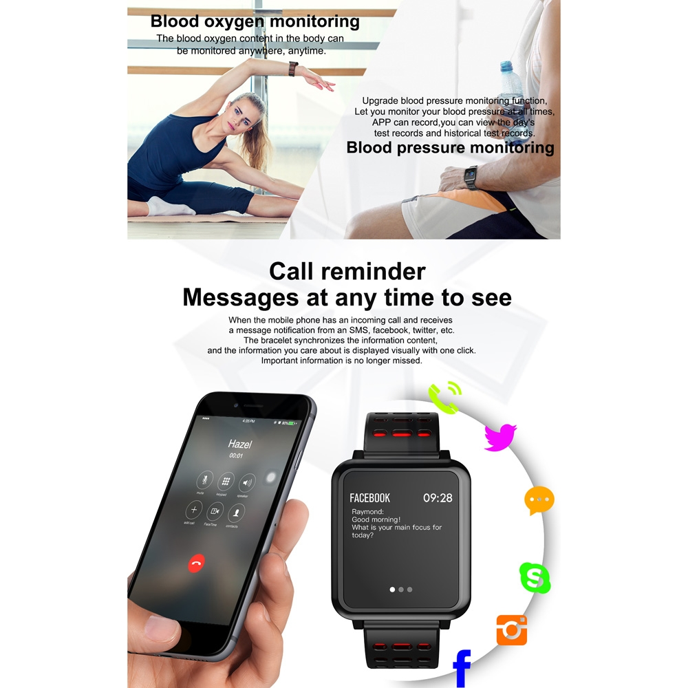 T2 1.3 inches TFT IPS Color Screen Smart Bracelet IP67 Waterproof, Support Call Reminder / Heart Rate Monitoring /Sleep Monitoring /Sedentary Reminder /Blood Pressure Monitoring /Blood Oxygen Monitoring (Grey)