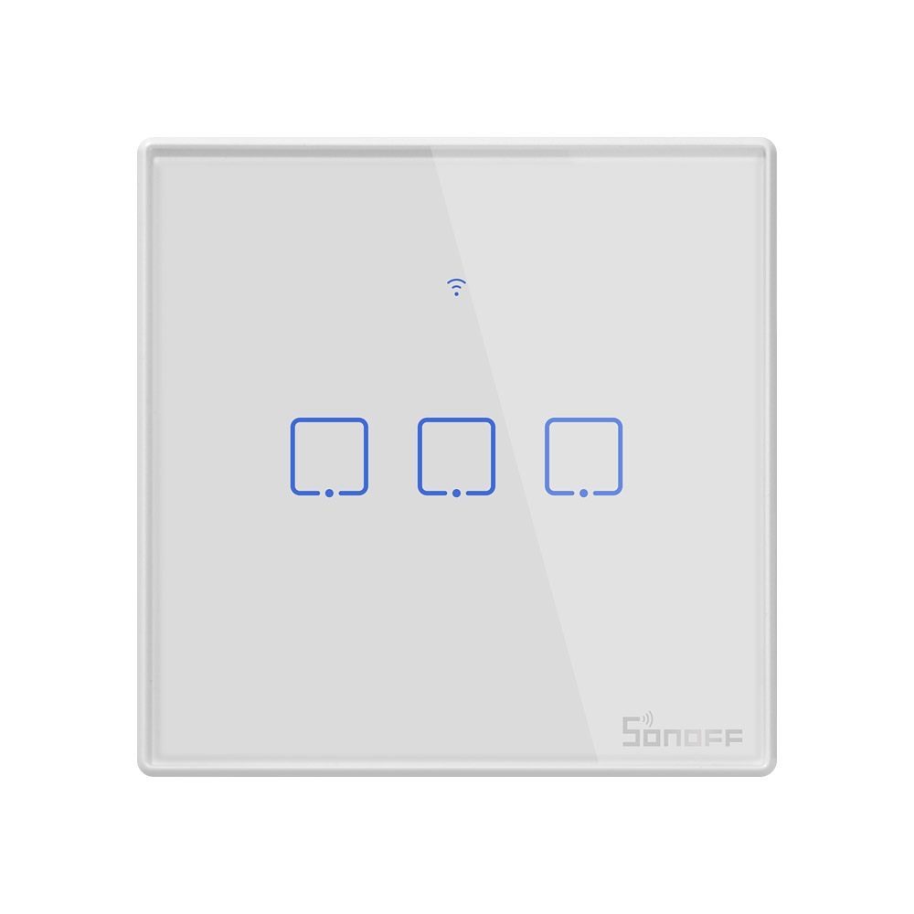 Sonoff T2 Touch 86mm 1 Gang 3 Way Tempered Glass Panel