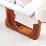 1/4 inch Thread PU Leather Camera Half Case Base for Leica DLUX TYP 109 (Brown)