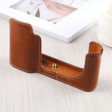 1/4 inch Thread PU Leather Camera Half Case Base for Leica TL (Typ 701) (Brown)