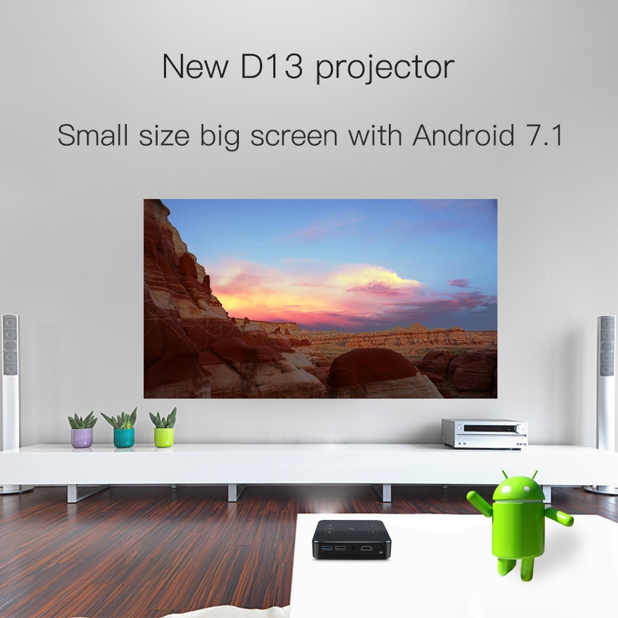 D13 854x480 Android 7.1.2 Mini Pocket Projector 4K DLP Smart Handheld LED WIFI Home Theater Projector, Support USB / TF / HDMI