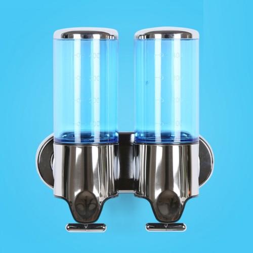 Dual Hotel Shower Manual Dispenser Wall Mounted Washing Liquid Shampoo Soap Bottle, Capacity: 1000ml (Blue)