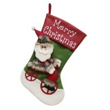 CX192019 Santa Claus Pattern Christmas Sock Gift Bag Christmas Tree Pendant Decoration