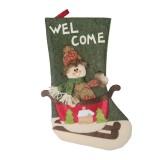 2 PCS CX20228 Snowman Pattern Christmas Sock Gift Bag Christmas Tree Pendant Decoration