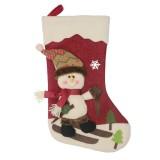 2 PCS CX20227 Snowman Pattern Christmas Sock Gift Bag Christmas Tree Pendant Decoration