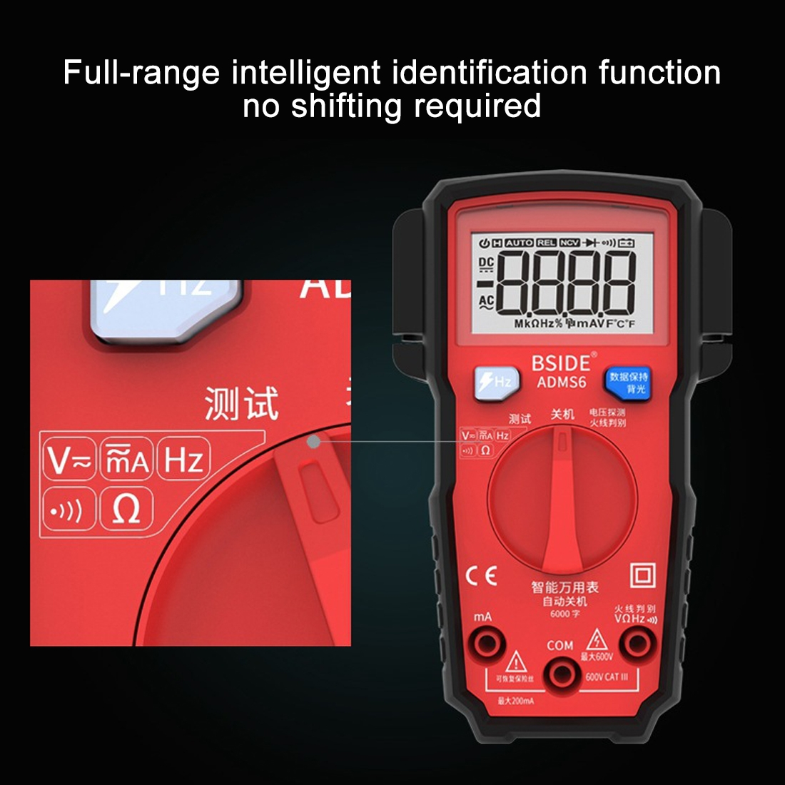 BSIDE ADMS6 High-precision Fully Automatic Small Digital Intelligent Multimeter with HD Digital Display & Shockproof Cover, Support Function Range Switch & Double-sided Pen Holder (Red)