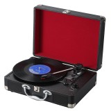 EC102B Suitcase Design Music Disc Player Tuntable Record Player (Red)