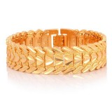 Fashion Brass Gold-plated Heart Bracelet Jewelry, Size: L (Gold)