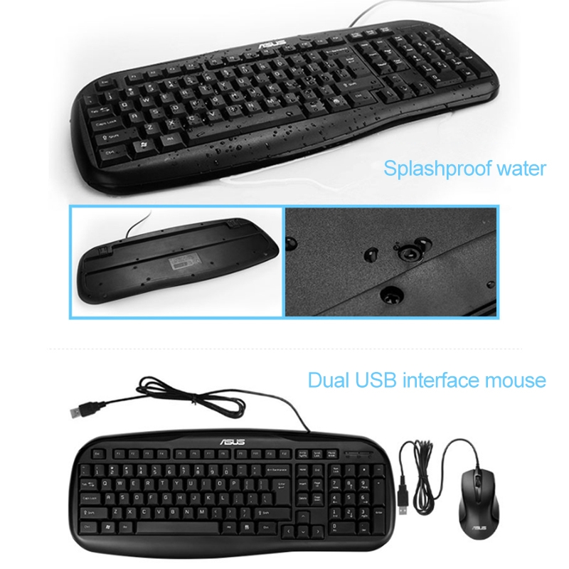 DS-8800 USB Interface Prevent Water Splashing Laser Engraving Character One-Piece Wired Touchpad Keyboard 1.5m Length