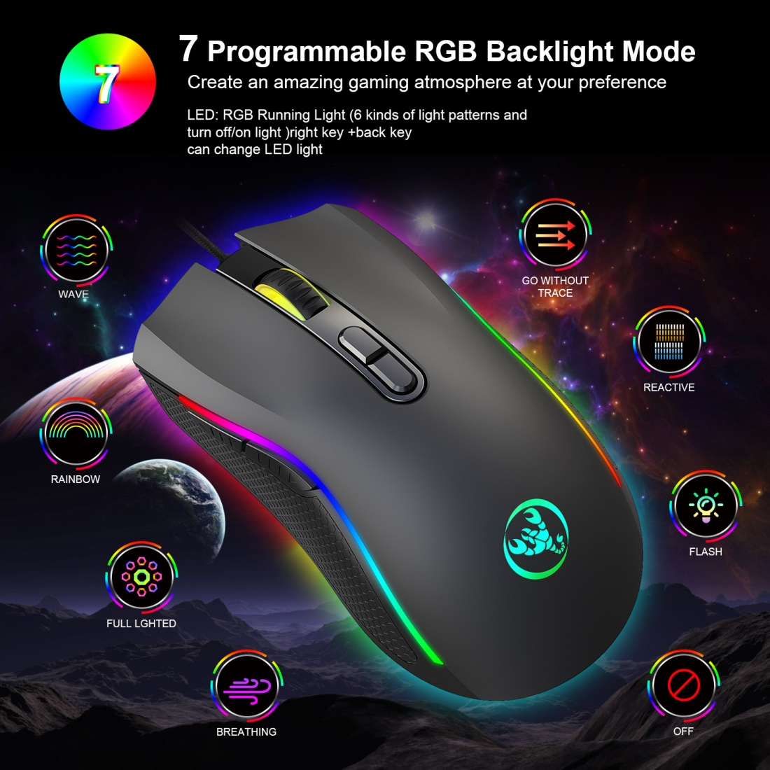 Cable Length Mice A869 7200 DPI Six-Speed Adjustable 7-Keys Macro Definition Programmable Colorful Light-Emitting Wired Game Optical Mouse 1.5m Computer Accessories
