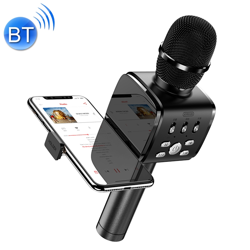 JOYROOM JR-MC3 Wireless Bluetooth External K Song Microphone, Supports TF Card with Holder (Black)