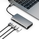 basix T7 8 in 1 USB-C / Type-C to 3 USB 3.0 + USB-C / Type-C + HDMI + RJ45 Network Interfaces HUB Adapter with Micro SD / SD Card Slots (Grey)