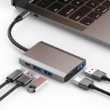 basix TW5A 5 in 1 USB-C / Type-C to 3 USB 3.0 + USB-C / Type-C + HDMI Interfaces HUB Adapter (Grey)