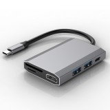 basix TW6A 6 in 1 USB-C / Type-C to 2 USB 3.0 + USB-C / Type-C + HDMI Interfaces HUB Adapter with Micro SD / SD Card Slots (Grey)