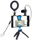 PULUZ 4 in 1 Vlogging Live Broadcast Smartphone Video Rig + 4.7 inch 12cm Ring LED Selfie Light Kits with Microphone + Tripod Mount + Cold Shoe Tripod Head for iPhone, Galaxy, Huawei, Xiaomi, HTC, LG, Google, and Other Smartphones (Blue)
