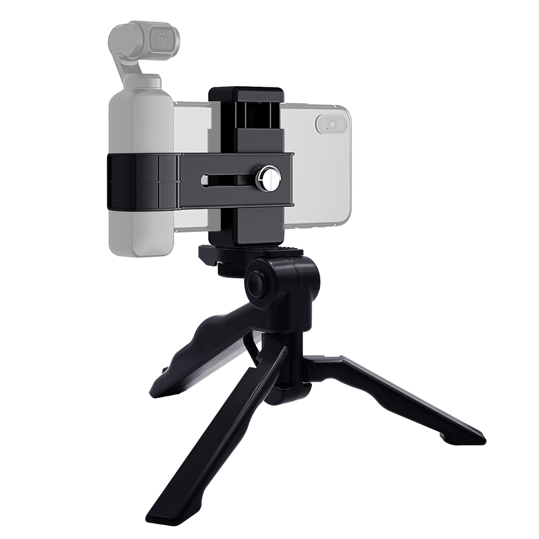 PULUZ Smartphone Fixing Clamp 1/4 inch Holder Mount Bracket + Grip Folding Tripod Mount Kits for DJI OSMO Pocket