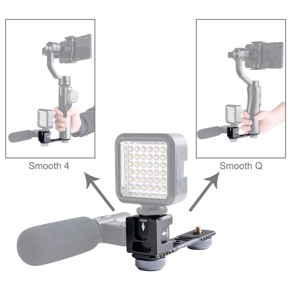 PULUZ 4-Head Cold Hot Shoe Mount Adapter Microphone Flash Light Aluminum Alloy Extension Bracket for DJI OSMO Mobile 2 / Zhiyun Smooth 4 / Feiyu Vimble 2 Gimbal Stabilizer
