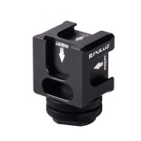 PULUZ 4-Head Hot Shoe Mount Adapter Microphone Flash Light Aluminum Alloy Holder Bracket