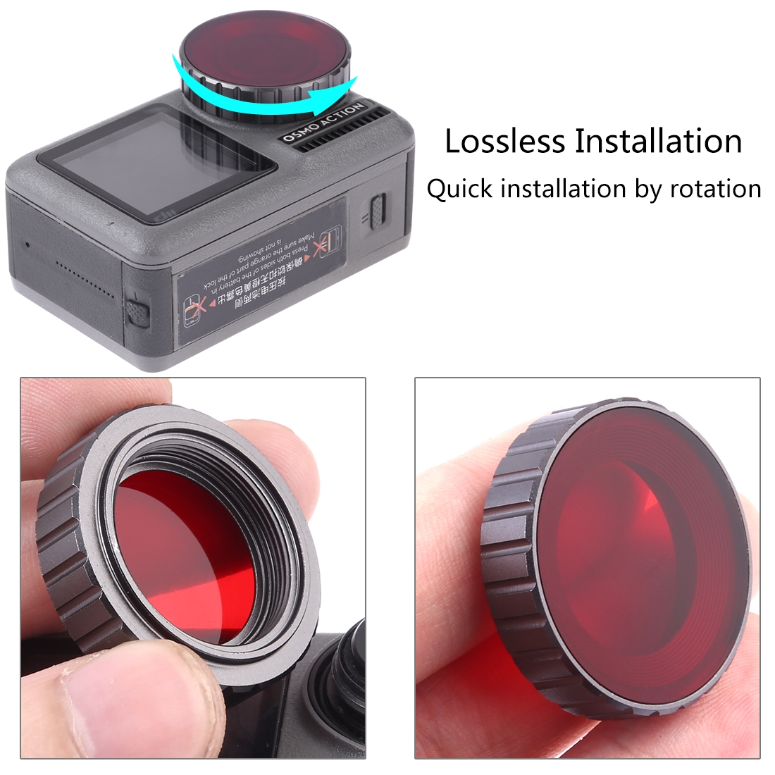 PULUZ Diving Color Lens Filter for DJI Osmo Action (Red)