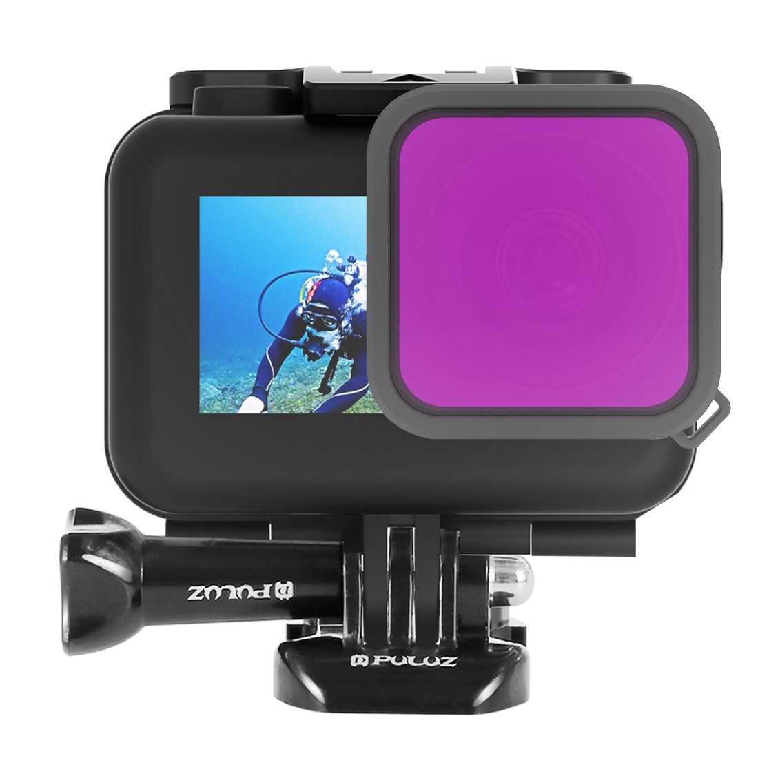PULUZ Housing Diving Color Lens Filter for DJI Osmo Action (Purple)